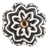 Black & Cream  Flower Knob